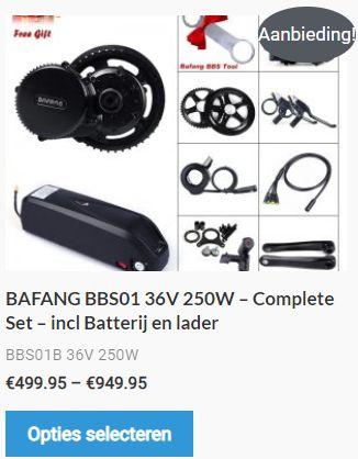 legale ebike ombouwset Bafang BBS01 36v 250Watt